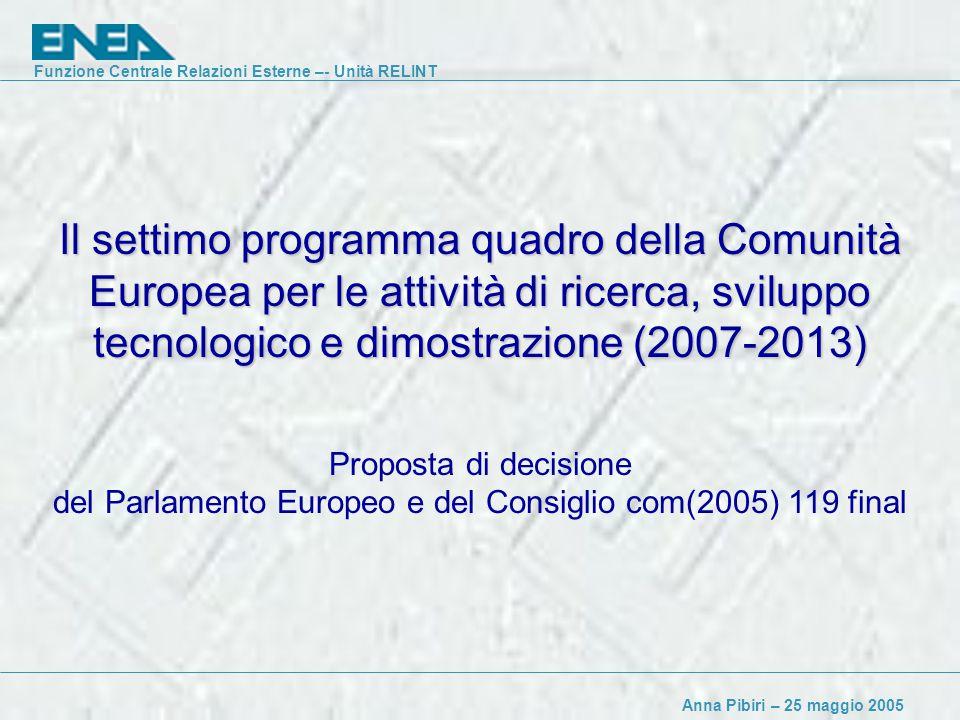 Funzione Centrale Relazioni Esterne –- Unità RELINT Anna Pibiri – 25 maggio 2005 Il settimo programma quadro della Comunità Europea per le attività di ricerca, sviluppo tecnologico e dimostrazione (2007-2013) Proposta di decisione del Parlamento Europeo e del Consiglio com(2005) 119 final