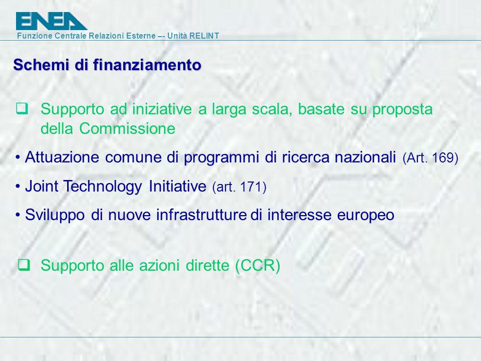 Funzione Centrale Relazioni Esterne –- Unità RELINT Schemi di finanziamento  Supporto ad iniziative a larga scala, basate su proposta della Commissione Attuazione comune di programmi di ricerca nazionali (Art.