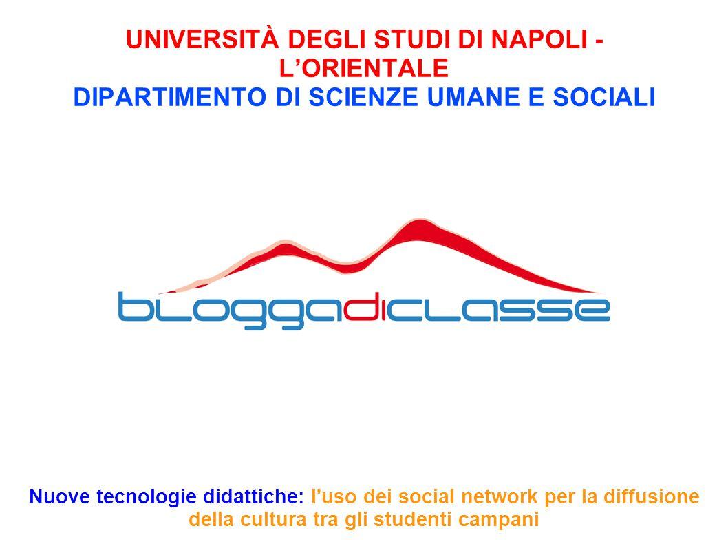UNIVERSITÀ DEGLI STUDI DI NAPOLI - L'ORIENTALE DIPARTIMENTO DI SCIENZE UMANE E SOCIALI Nuove tecnologie didattiche: l'uso dei social network per la di