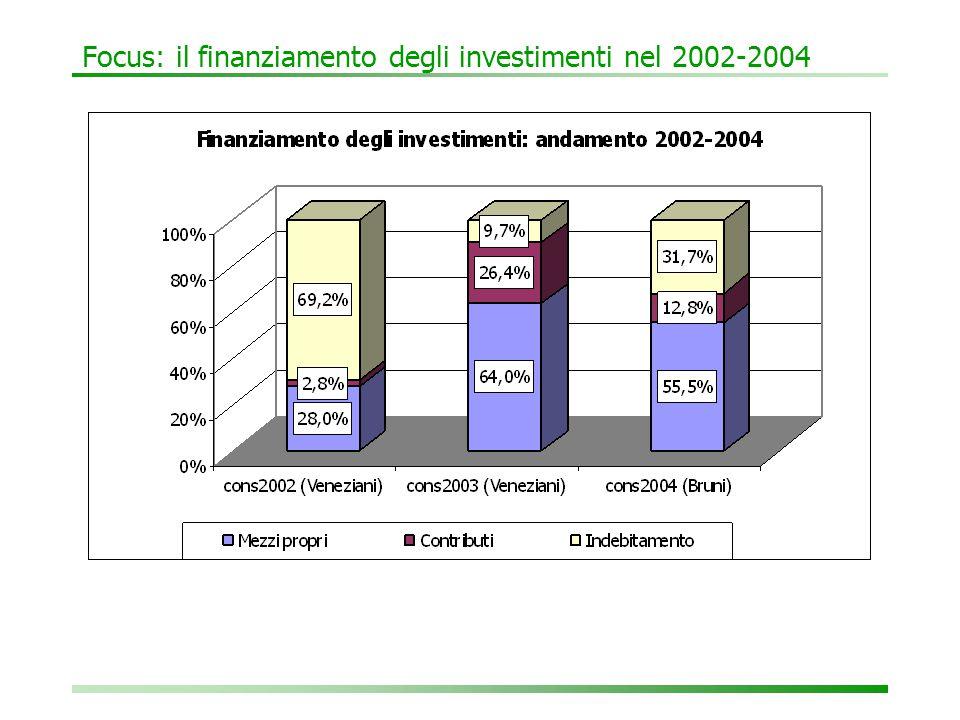 Focus: il finanziamento degli investimenti nel 2002-2004