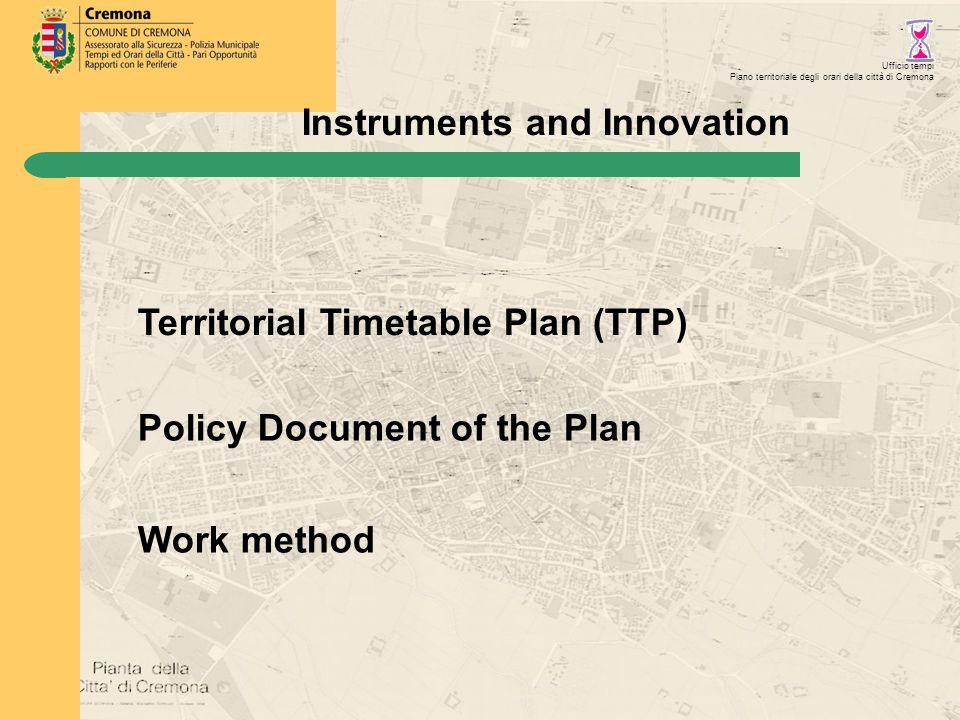 Ufficio tempi Piano territoriale degli orari della città di Cremona Territorial Timetable Plan (TTP) Instruments and Innovation Policy Document of the Plan Work method