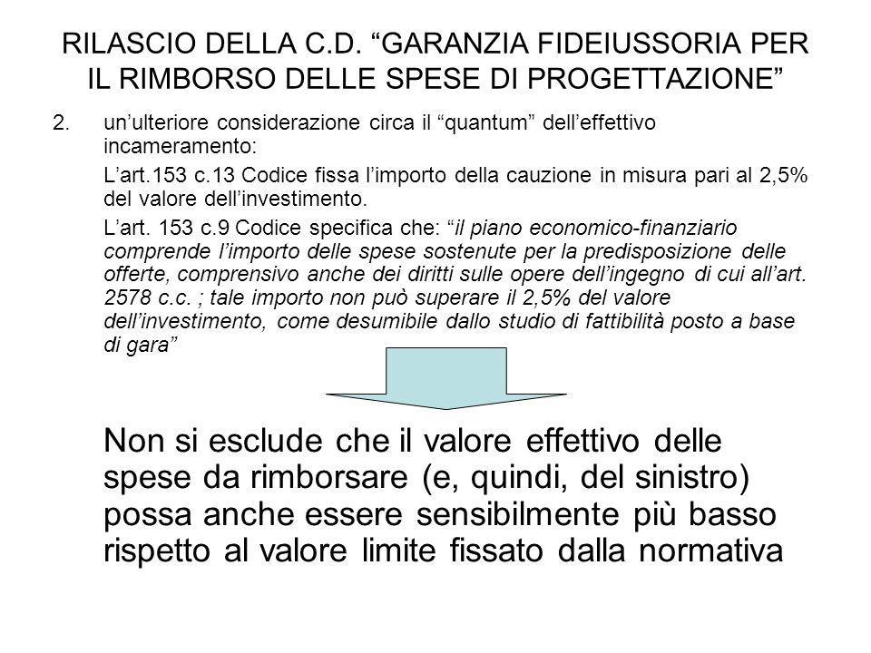 """RILASCIO DELLA C.D. """"GARANZIA FIDEIUSSORIA PER IL RIMBORSO DELLE SPESE DI PROGETTAZIONE"""" 2.un'ulteriore considerazione circa il """"quantum"""" dell'effetti"""