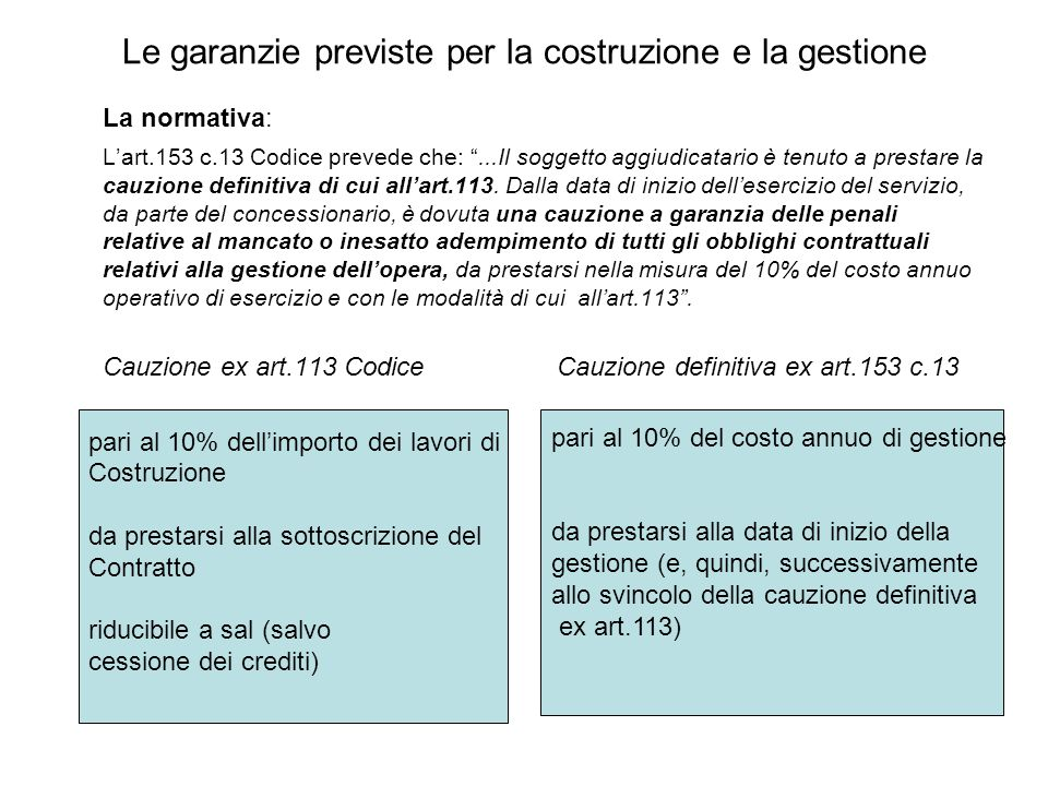 """Le garanzie previste per la costruzione e la gestione La normativa: L'art.153 c.13 Codice prevede che: """"...Il soggetto aggiudicatario è tenuto a prest"""