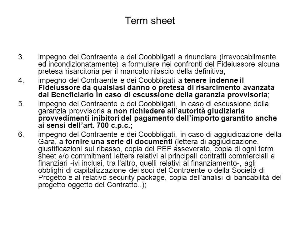 Term sheet 3.impegno del Contraente e dei Coobbligati a rinunciare (irrevocabilmente ed incondizionatamente) a formulare nei confronti del Fideiussore