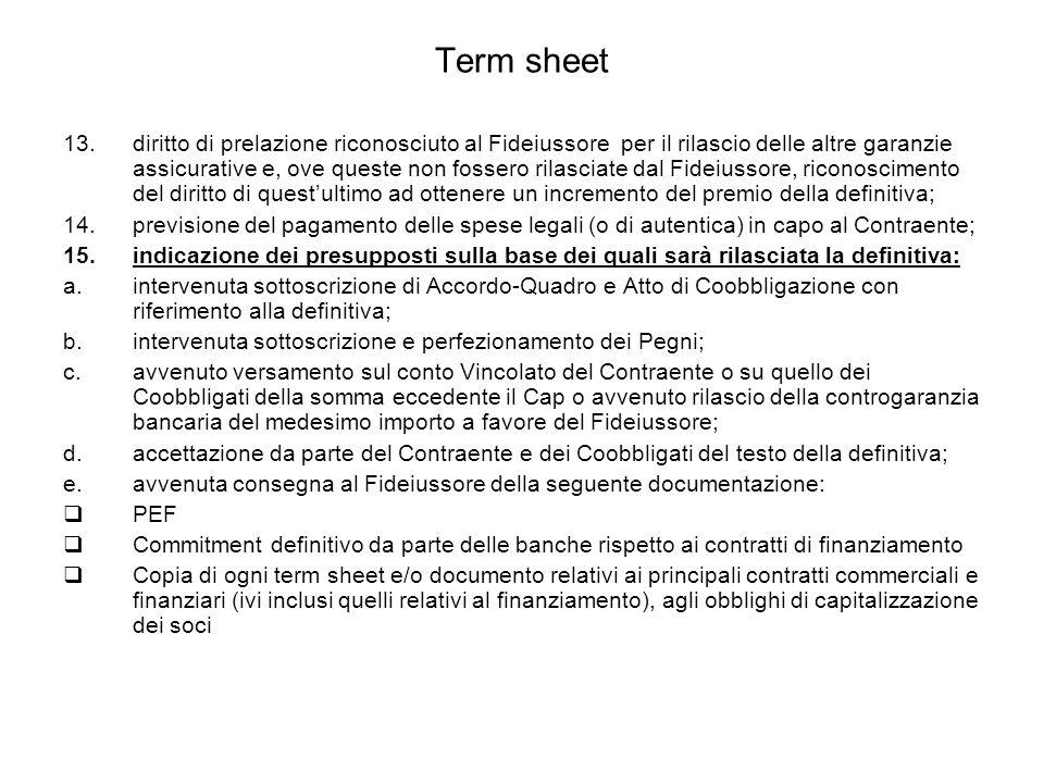 Term sheet 13.diritto di prelazione riconosciuto al Fideiussore per il rilascio delle altre garanzie assicurative e, ove queste non fossero rilasciate