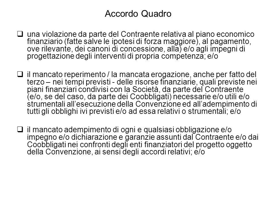 Accordo Quadro  una violazione da parte del Contraente relativa al piano economico finanziario (fatte salve le ipotesi di forza maggiore), al pagamen