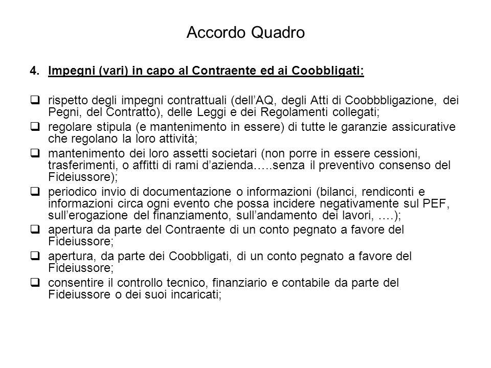 Accordo Quadro 4.Impegni (vari) in capo al Contraente ed ai Coobbligati:  rispetto degli impegni contrattuali (dell'AQ, degli Atti di Coobbbligazione