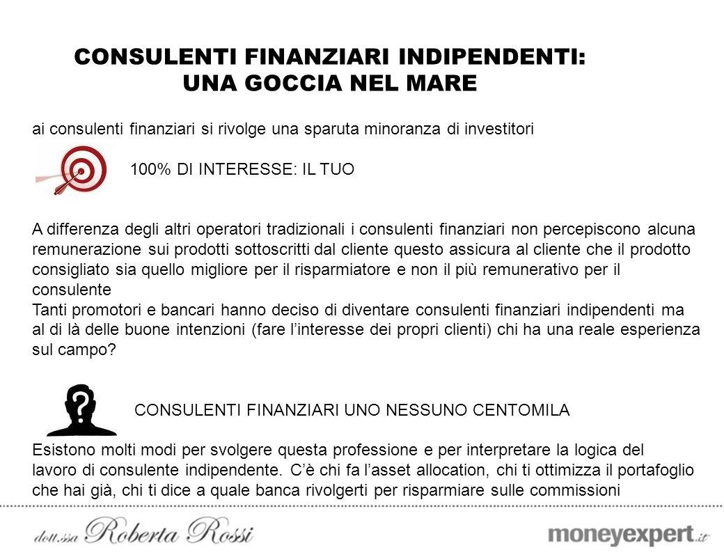 CONSULENTI FINANZIARI INDIPENDENTI: UNA GOCCIA NEL MARE ai consulenti finanziari si rivolge una sparuta minoranza di investitori 100% DI INTERESSE: IL