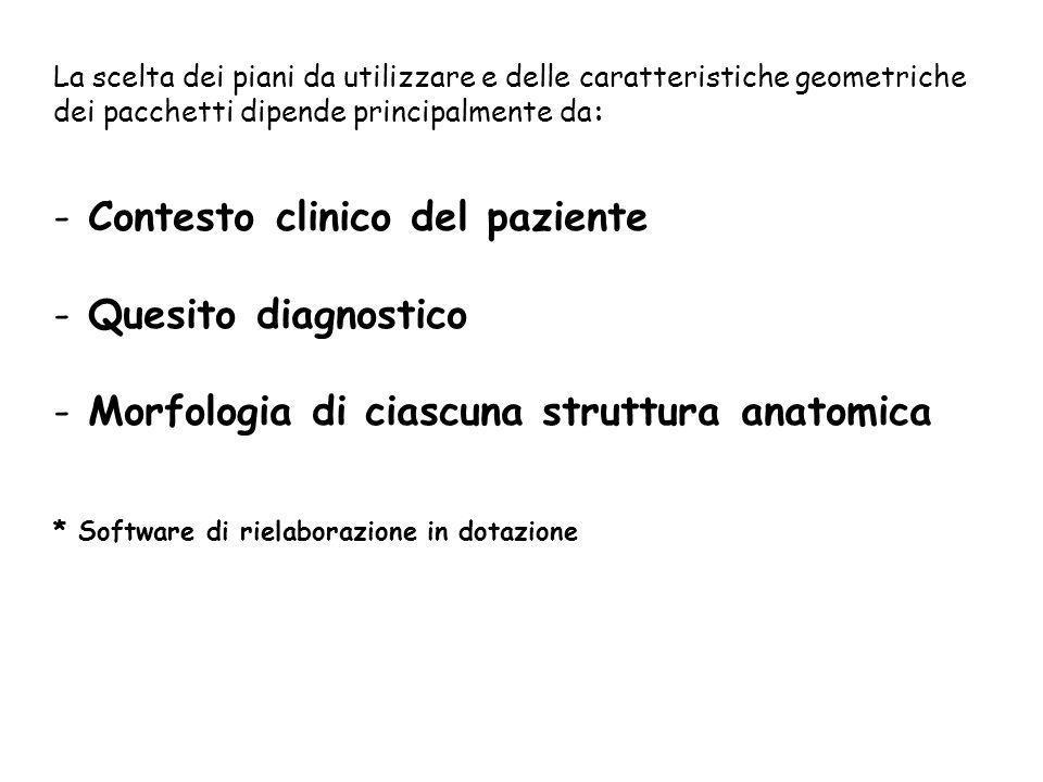 La scelta dei piani da utilizzare e delle caratteristiche geometriche dei pacchetti dipende principalmente da: - Contesto clinico del paziente - Quesi