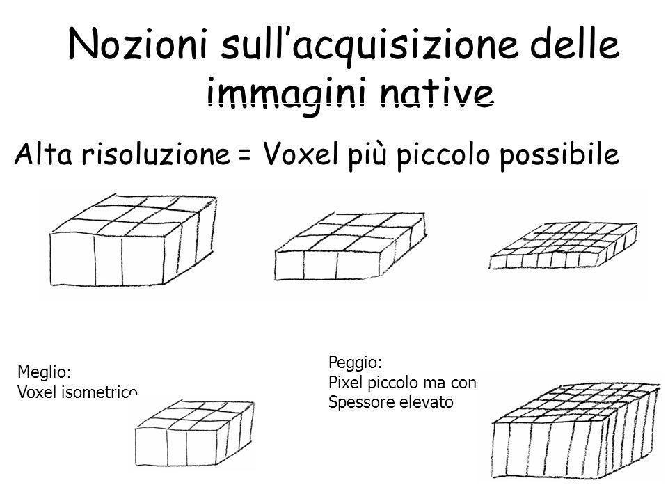 Nozioni sull'acquisizione delle immagini native Alta risoluzione = Voxel più piccolo possibile Meglio: Voxel isometrico Peggio: Pixel piccolo ma con S