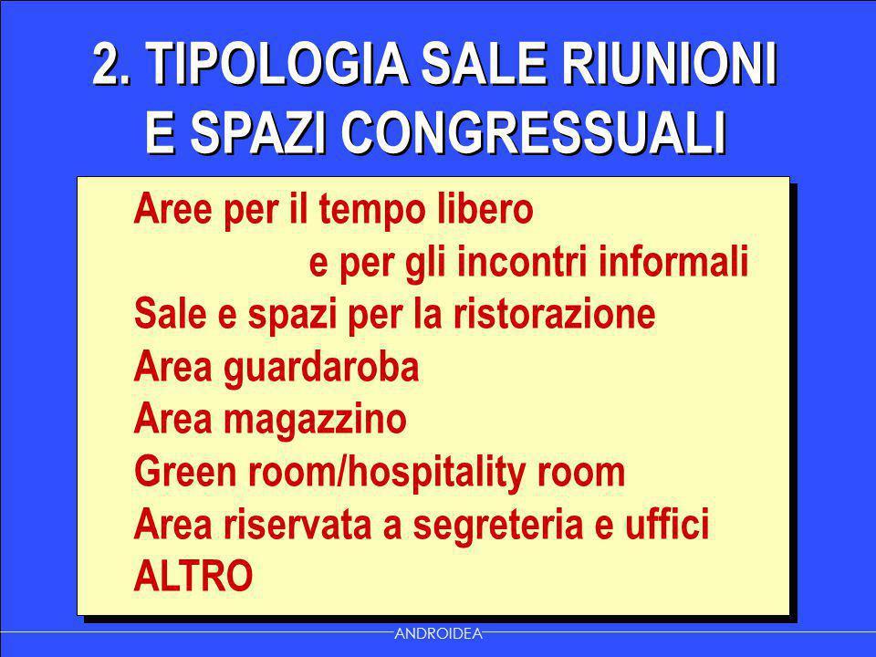 2. TIPOLOGIA SALE RIUNIONI E SPAZI CONGRESSUALI ANDROIDEA Aree per il tempo libero e per gli incontri informali Sale e spazi per la ristorazione Area