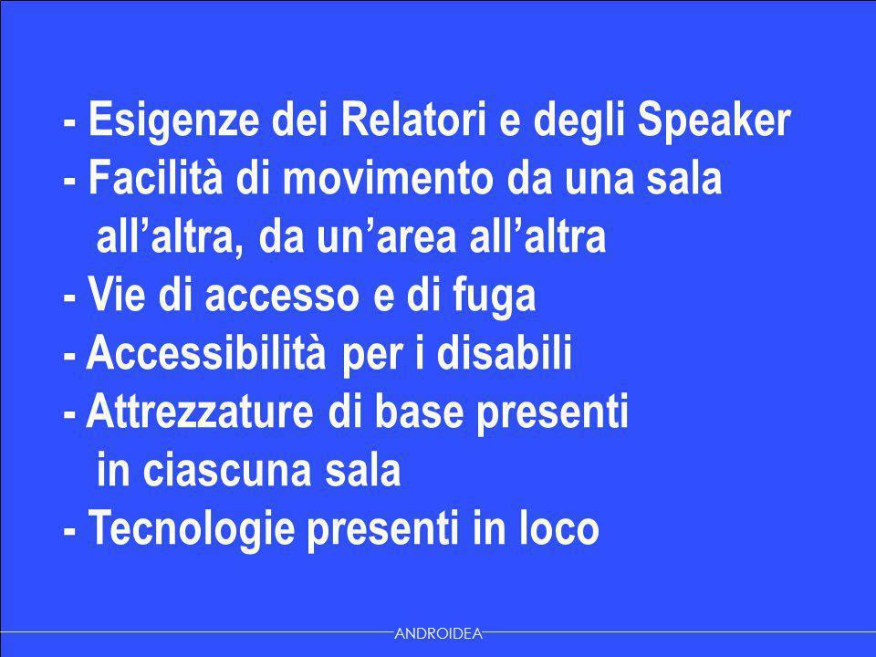 - Esigenze dei Relatori e degli Speaker - Facilità di movimento da una sala all'altra, da un'area all'altra - Vie di accesso e di fuga - Accessibilità