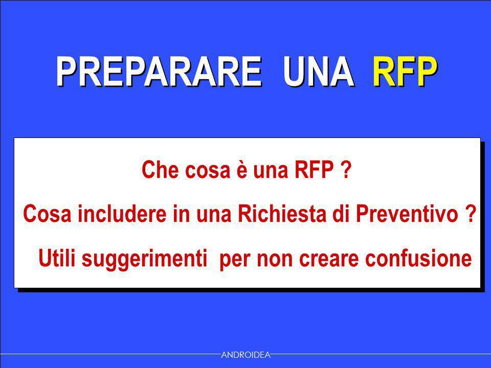 PREPARARE UNA RFP Che cosa è una RFP ? Cosa includere in una Richiesta di Preventivo ? Utili suggerimenti per non creare confusione Che cosa è una RFP