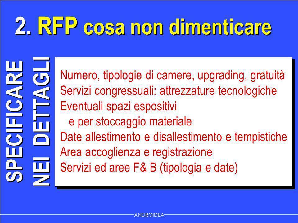2. RFP cosa non dimenticare ANDROIDEA Numero, tipologie di camere, upgrading, gratuità Servizi congressuali: attrezzature tecnologiche Eventuali spazi