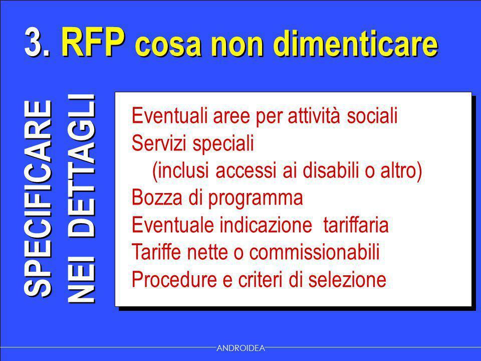 3. RFP cosa non dimenticare ANDROIDEA Eventuali aree per attività sociali Servizi speciali (inclusi accessi ai disabili o altro) Bozza di programma Ev