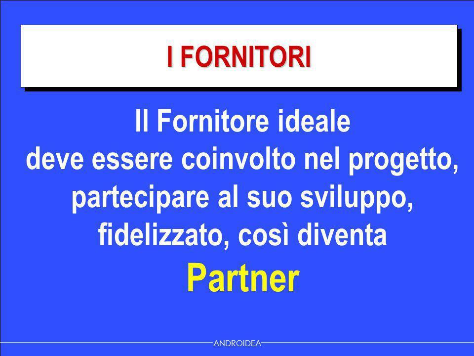 I FORNITORI ANDROIDEA Il Fornitore ideale deve essere coinvolto nel progetto, partecipare al suo sviluppo, fidelizzato, così diventa Partner