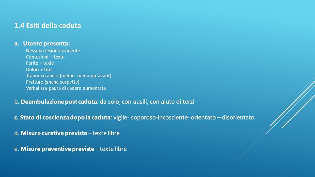 1.4 Esiti della caduta a.Utente presenta : Nessuna lesione evidente Contusioni + texte Ferite + texte Dolori + text Trauma cranico (même menu qu ' ava