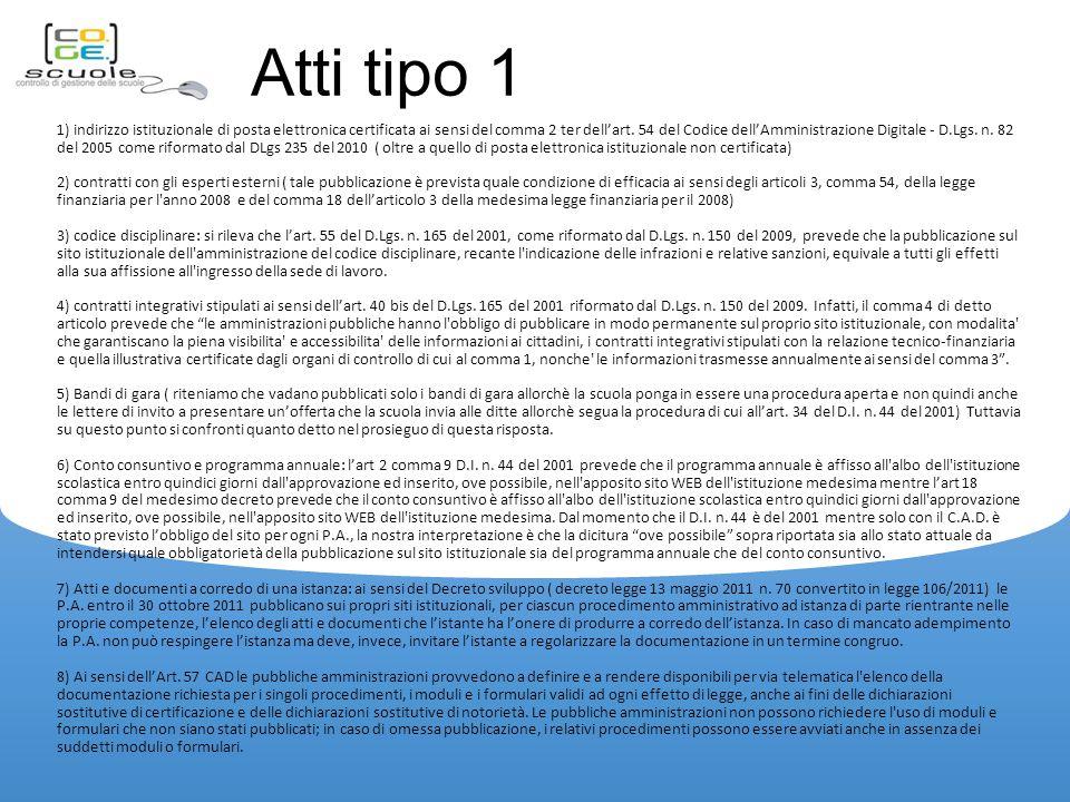 Atti tipo 1 1) indirizzo istituzionale di posta elettronica certificata ai sensi del comma 2 ter dell'art.