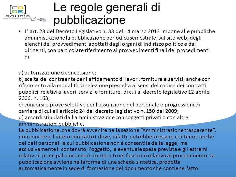 Le regole generali di pubblicazione L art.23 del Decreto Legislativo n.