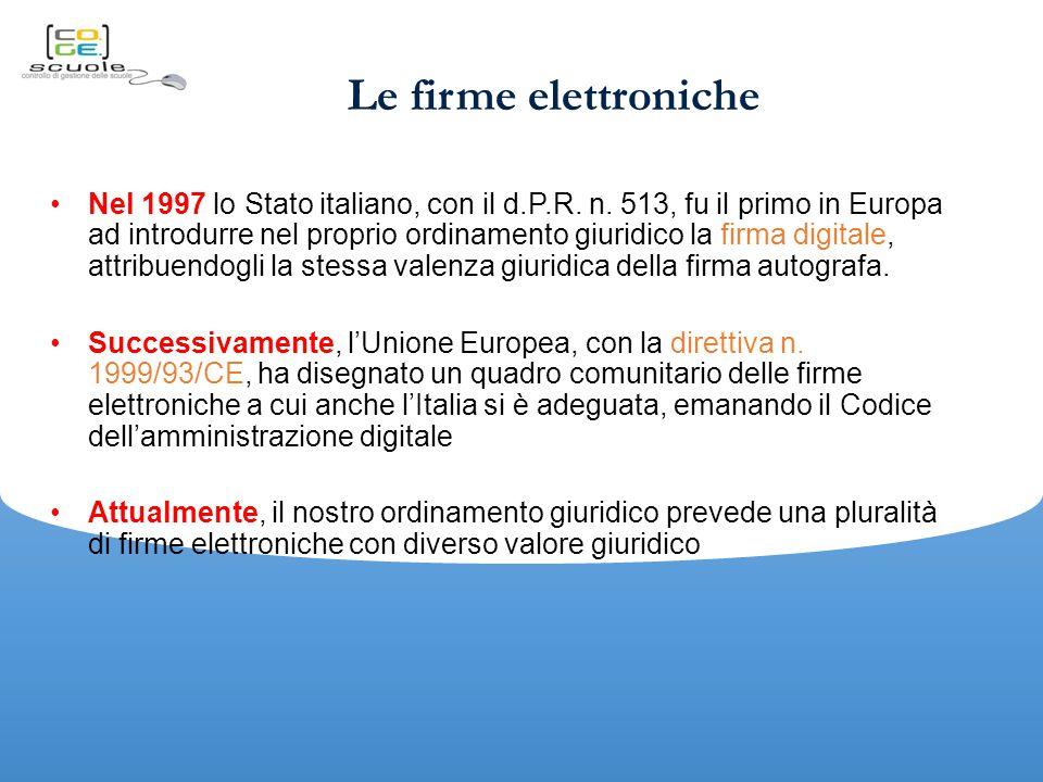 Le firme elettroniche Nel 1997 lo Stato italiano, con il d.P.R.