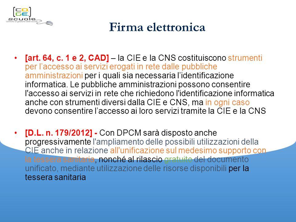 Firma elettronica [art.64, c.