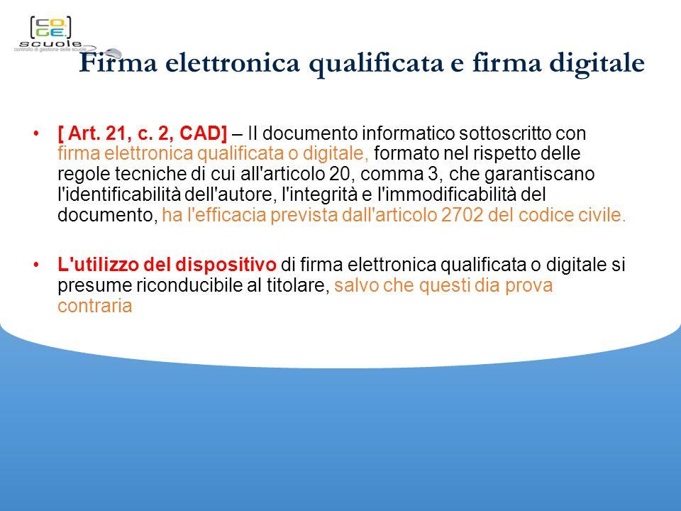 Firma elettronica qualificata e firma digitale [ Art.