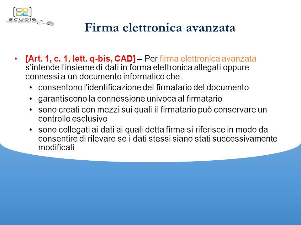 Firma elettronica avanzata [Art.1, c. 1, lett.