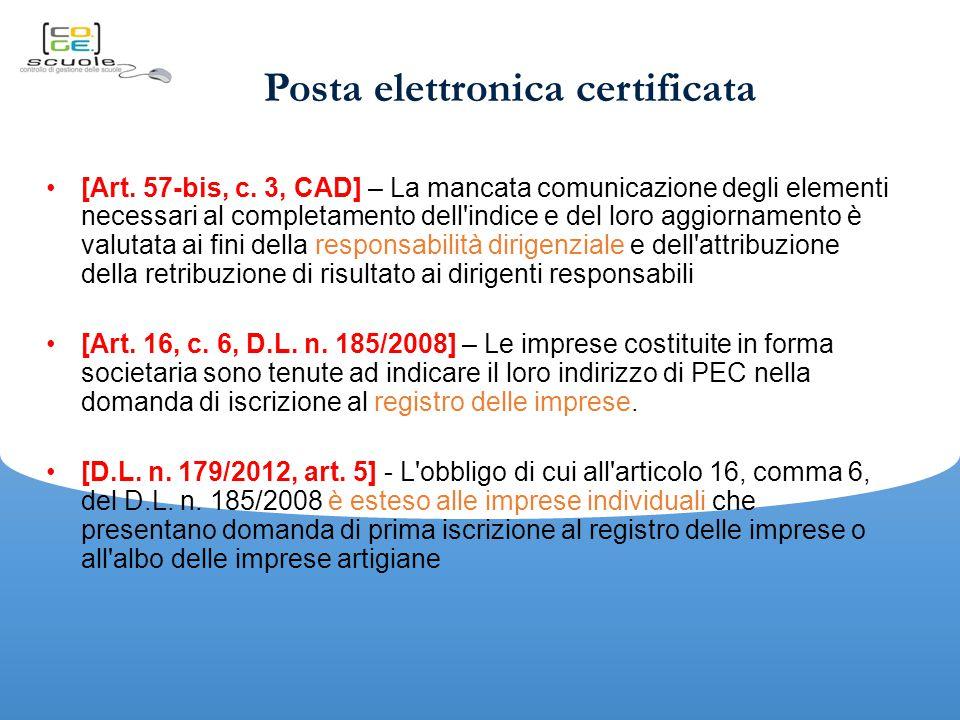 Posta elettronica certificata [Art.57-bis, c.