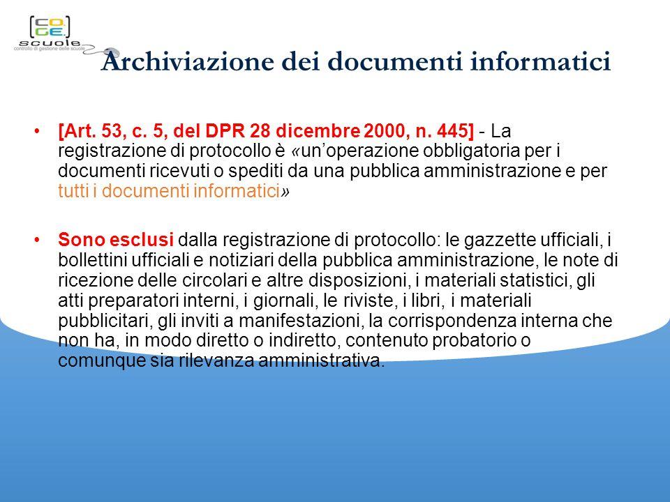 Archiviazione dei documenti informatici [Art.53, c.