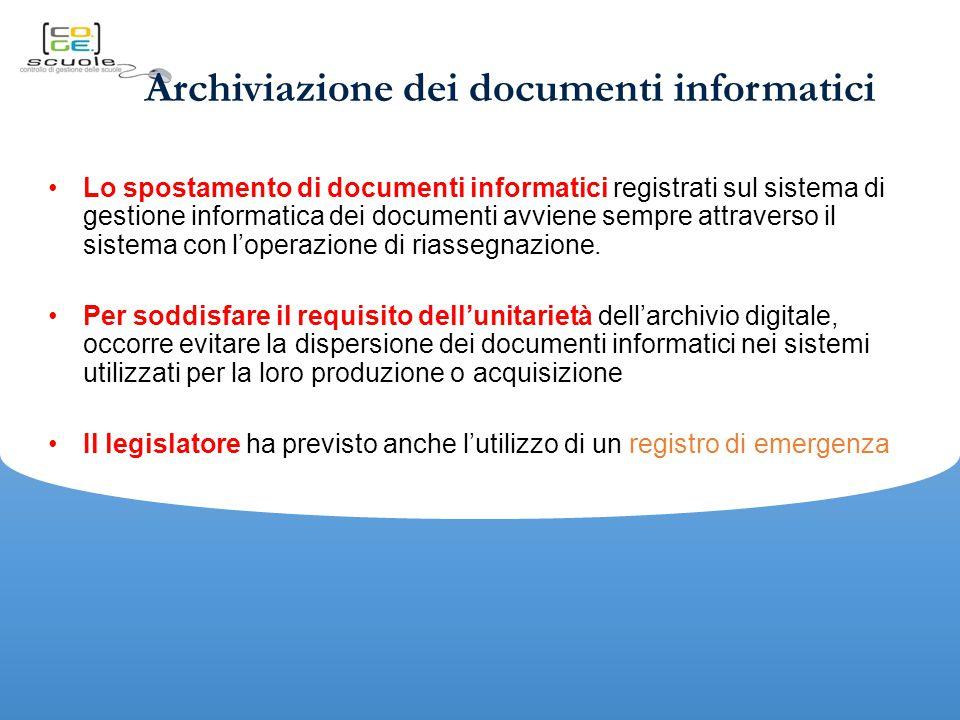 Archiviazione dei documenti informatici Lo spostamento di documenti informatici registrati sul sistema di gestione informatica dei documenti avviene sempre attraverso il sistema con l'operazione di riassegnazione.