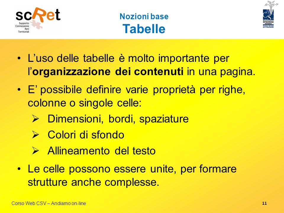 Corso Web CSV – Andiamo on-line Nozioni base Tabelle L'uso delle tabelle è molto importante per l'organizzazione dei contenuti in una pagina. E' possi