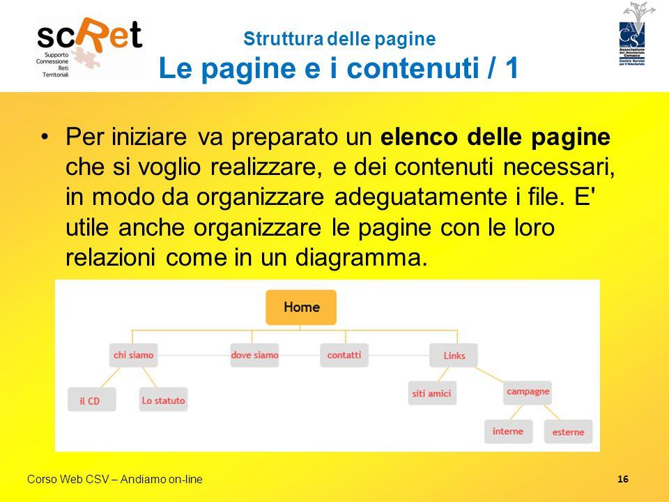 Corso Web CSV – Andiamo on-line Struttura delle pagine Le pagine e i contenuti / 1 Per iniziare va preparato un elenco delle pagine che si voglio real