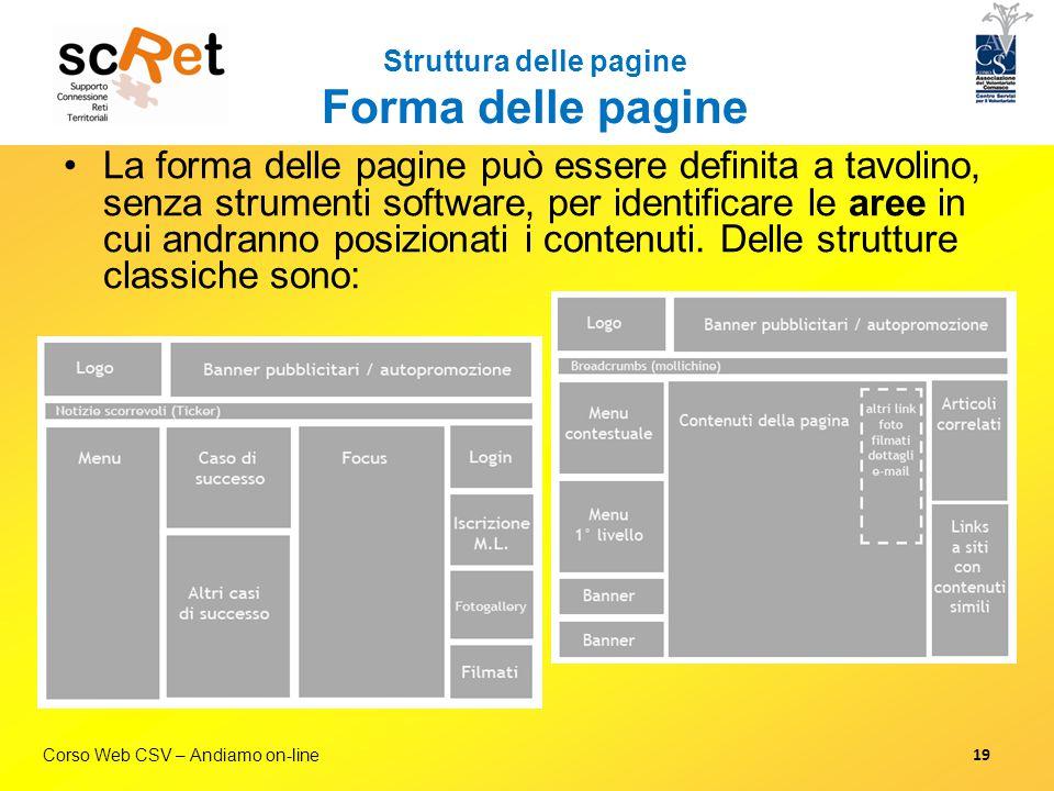 Corso Web CSV – Andiamo on-line Struttura delle pagine Forma delle pagine La forma delle pagine può essere definita a tavolino, senza strumenti softwa