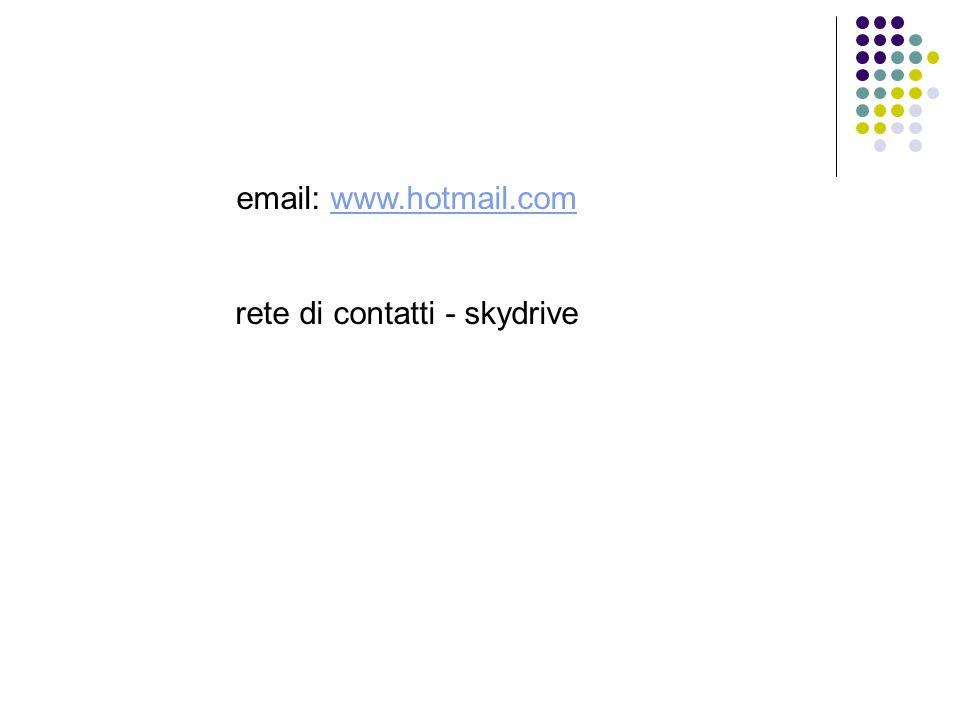 email: www.hotmail.comwww.hotmail.com rete di contatti - skydrive