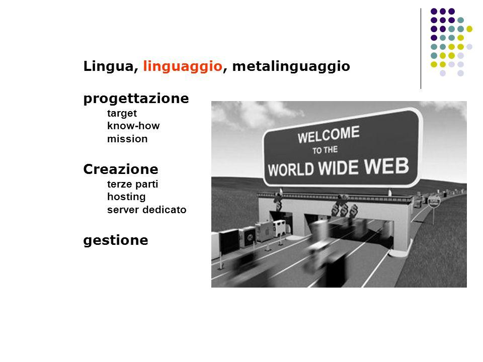 Lingua, linguaggio, metalinguaggio progettazione target know-how mission Creazione terze parti hosting server dedicato gestione