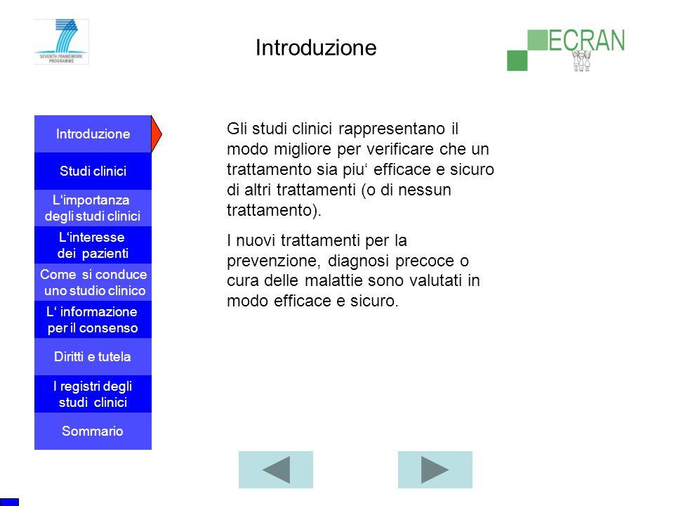 Introduzione Studi clinici L'importanza degli studi clinici Come si conduce uno studio clinico L' informazione per il consenso L'interesse dei pazient
