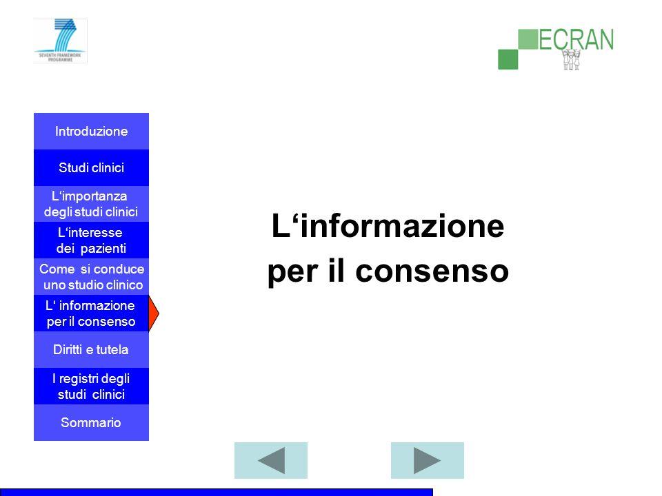 Introduzione Studi clinici L'importanza degli studi clinici Come si conduce uno studio clinico L' informazione per il consenso L'interesse dei pazienti Diritti e tutela I registri degli studi clinici Sommario L'informazione per il consenso