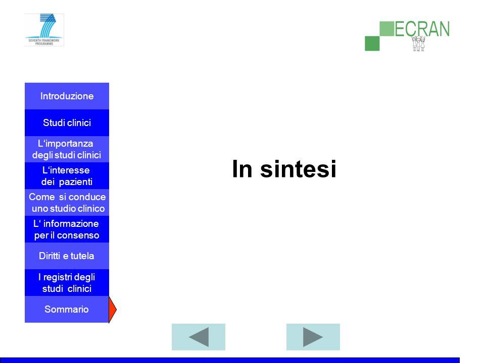 Introduzione Studi clinici L'importanza degli studi clinici Come si conduce uno studio clinico L' informazione per il consenso L'interesse dei pazienti Diritti e tutela I registri degli studi clinici Sommario In sintesi