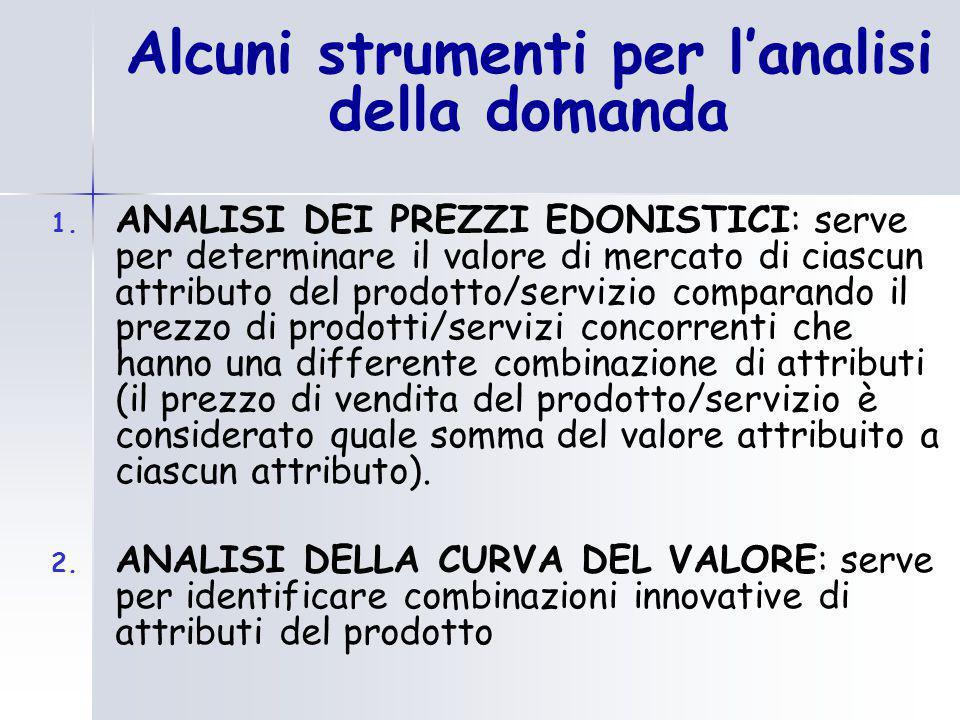1. ANALISI DEI PREZZI EDONISTICI: serve per determinare il valore di mercato di ciascun attributo del prodotto/servizio comparando il prezzo di prodot