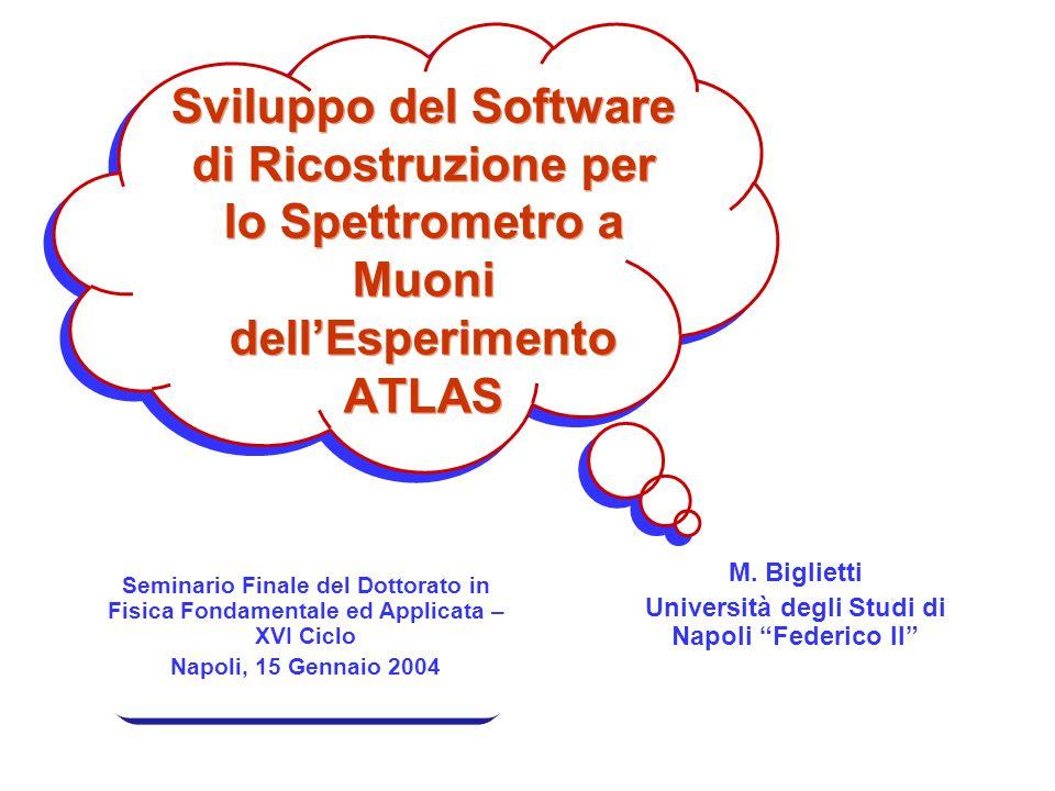 """Sviluppo del Software di Ricostruzione per lo Spettrometro a Muoni dell'Esperimento ATLAS M. Biglietti Università degli Studi di Napoli """"Federico II"""""""