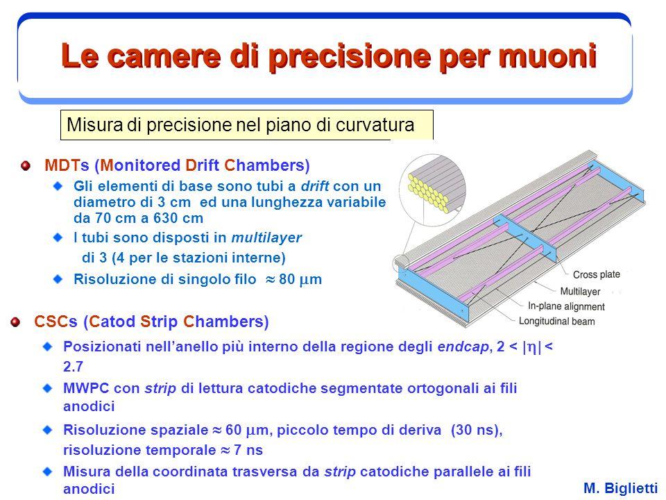 M. Biglietti Le camere di precisione per muoni MDTs (Monitored Drift Chambers) Gli elementi di base sono tubi a drift con un diametro di 3 cm ed una l