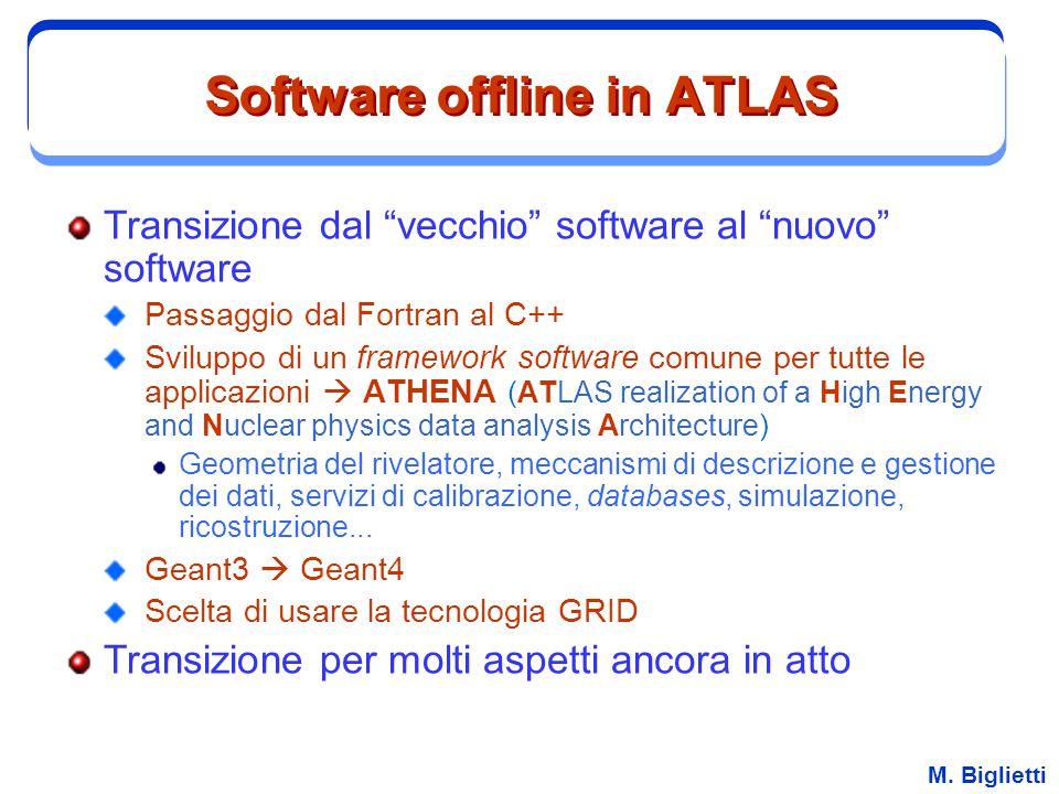 """M. Biglietti Software offline in ATLAS Transizione dal """"vecchio"""" software al """"nuovo"""" software Passaggio dal Fortran al C++ Sviluppo di un framework so"""