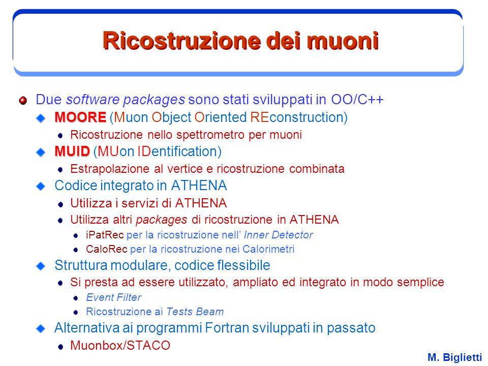 M. Biglietti Ricostruzione dei muoni Due software packages sono stati sviluppati in OO/C++ MOORE MOORE (Muon Object Oriented REconstruction) Ricostruz