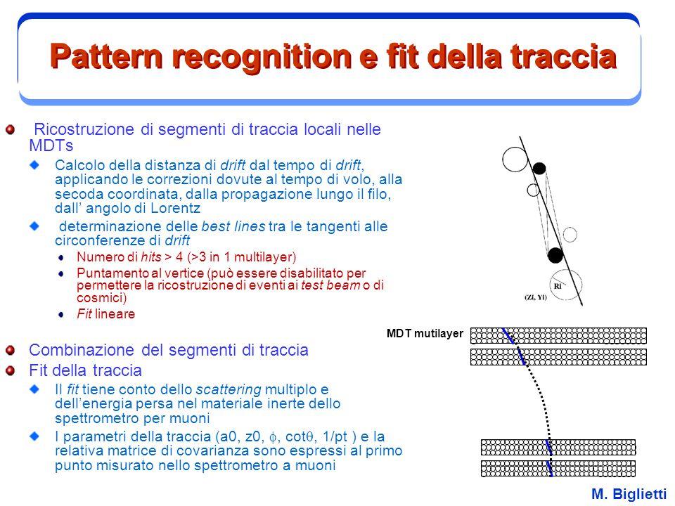 M. Biglietti Pattern recognition e fit della traccia Ricostruzione di segmenti di traccia locali nelle MDTs Calcolo della distanza di drift dal tempo