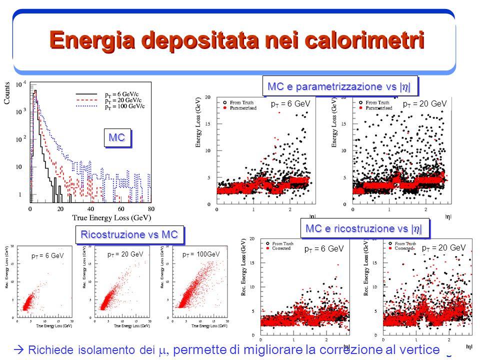 M. Biglietti Energia depositata nei calorimetri MCMC MC e parametrizzazione vs      Ricostruzione vs MC MC e ricostruzione vs      p T = 6 GeV p T =