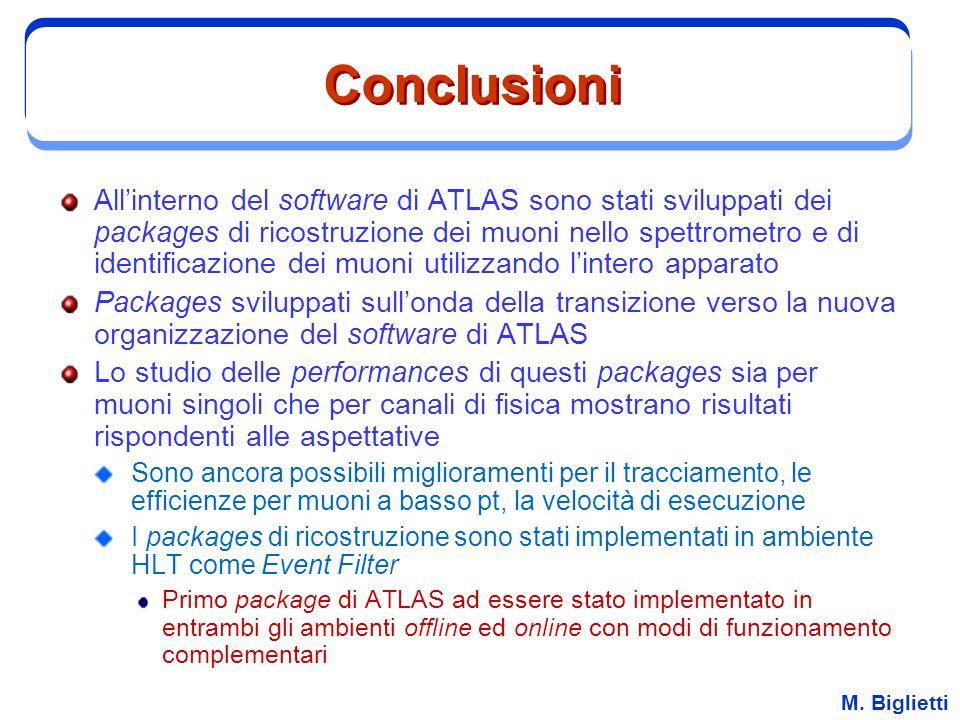 M. Biglietti Conclusioni All'interno del software di ATLAS sono stati sviluppati dei packages di ricostruzione dei muoni nello spettrometro e di ident