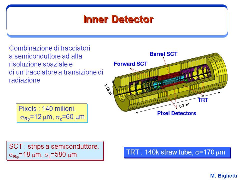 M. Biglietti Inner Detector Combinazione di tracciatori a semiconduttore ad alta risoluzione spaziale e di un tracciatore a transizione di radiazione