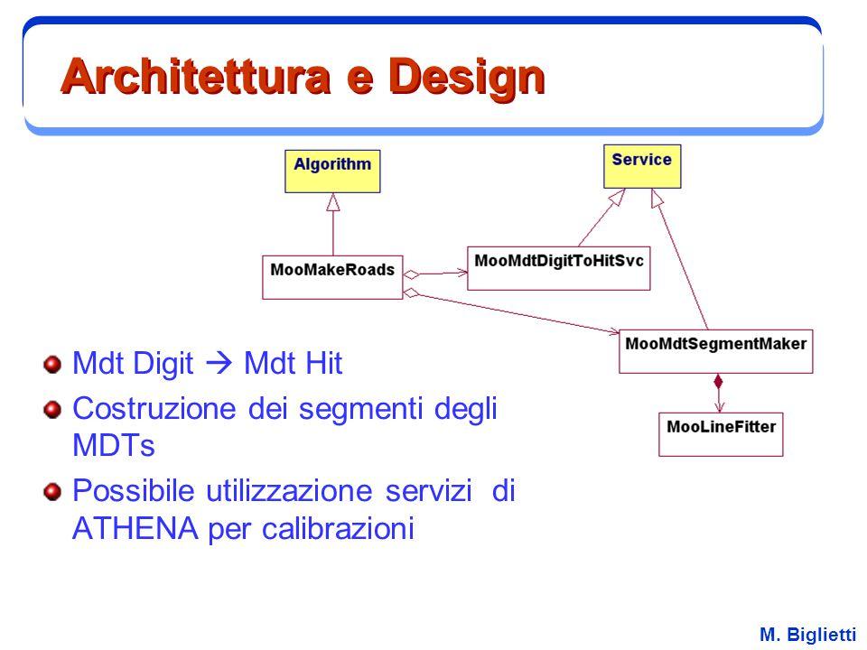 M. Biglietti Architettura e Design Mdt Digit  Mdt Hit Costruzione dei segmenti degli MDTs Possibile utilizzazione servizi di ATHENA per calibrazioni