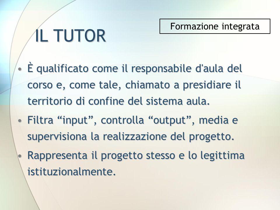 IL TUTOR È qualificato come il responsabile d'aula del corso e, come tale, chiamato a presidiare il territorio di confine del sistema aula.È qualifica