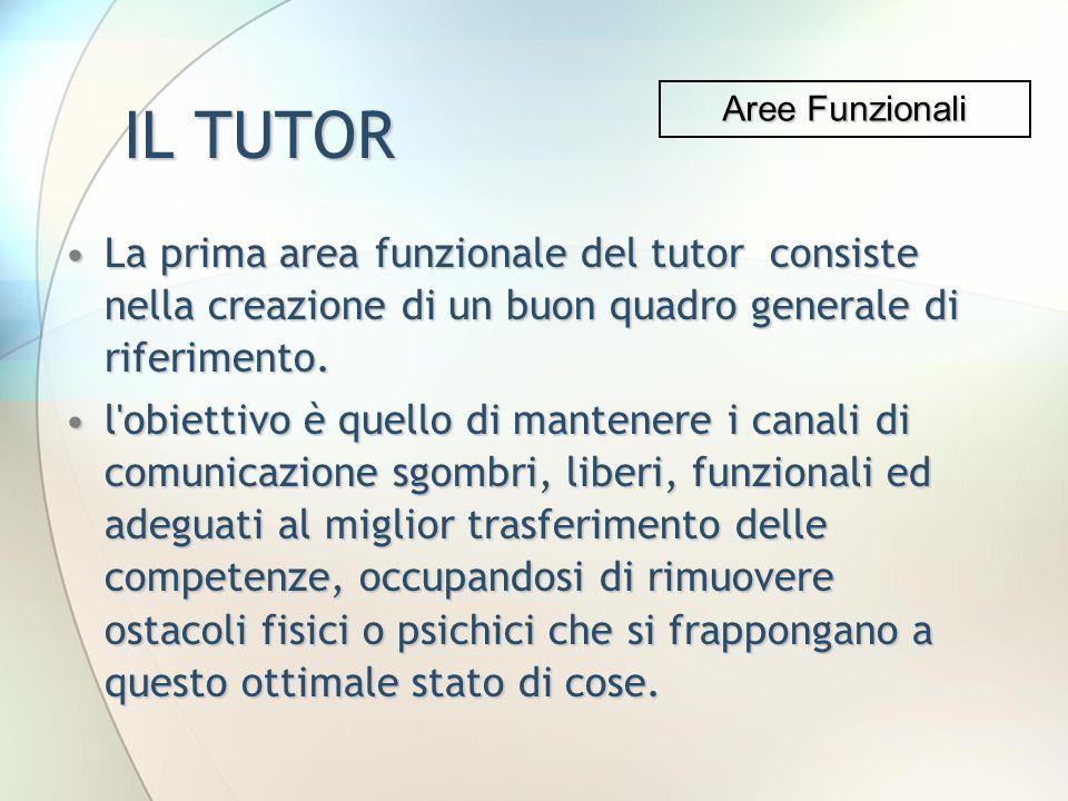 IL TUTOR La prima area funzionale del tutor consiste nella creazione di un buon quadro generale di riferimento.La prima area funzionale del tutor cons